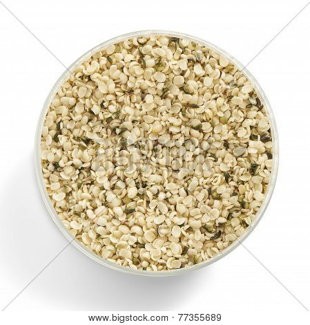 Hemp Seed In A Glas Jar Shot From Above