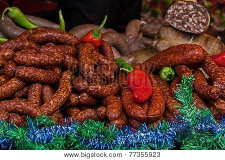 Smoked Sausages Specialties With Red And Green Pepper