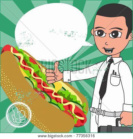man with hot dog cartoon