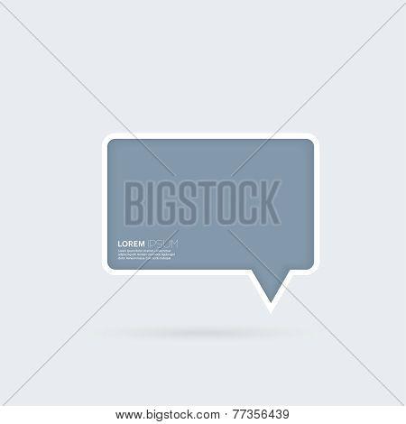Blue plastic bubble speech on a gray background.