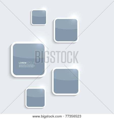 Blue plastic shiny, glossy boxes on gray background.