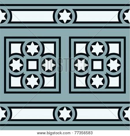 Seamless vintage ornamental tile border in blue