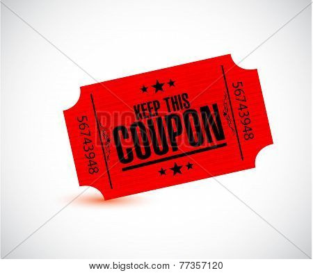 Keep This Coupon. Red Ticket Illustration