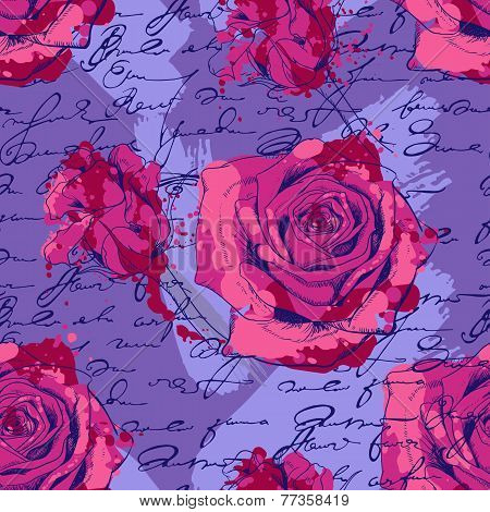 seamless pattern with roses, handwriting and smudges