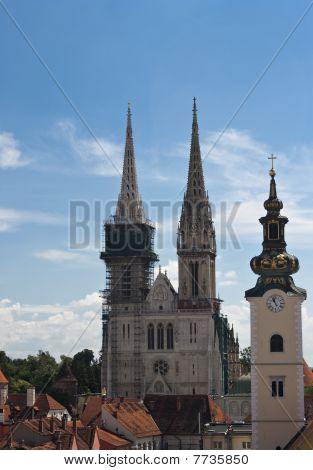 Zagreb Cathedral And Church Tower.