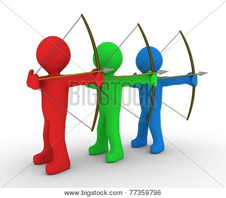 Different Archers Aiming At Same Target