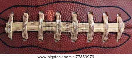 Worn Football Close Up for Sports Background