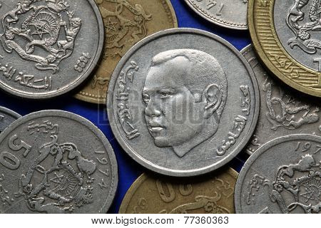 Coins of Morocco. King Mohammed VI of Morocco depicted in the Moroccan dirham coins.