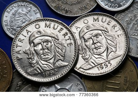 Coins of Cuba. Cuban national hero Ernesto Che Guevara depicted in the Cuban three peso coin.