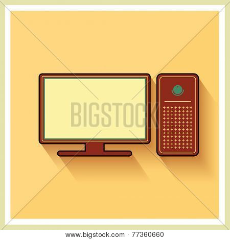 Personal Computer and Monitor on Yellow Retro Background Vector