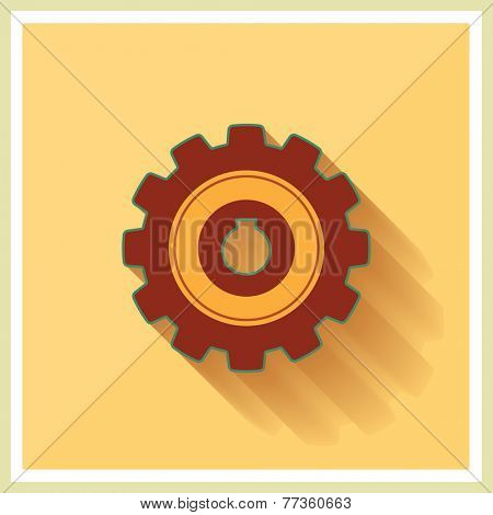 Technology Mechanical Gear Flat Icon on yellow retro background vector