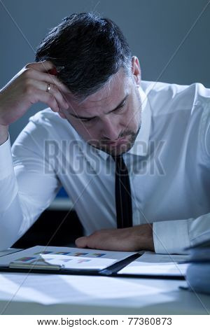 Exhausted Businessman Working At Office