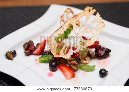 Asian dessert with lotus root and various berries