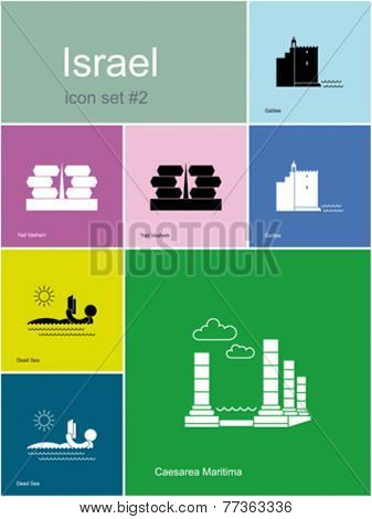 Landmarks of Israel. Set of color icons in Metro style. Editable vector illustration.