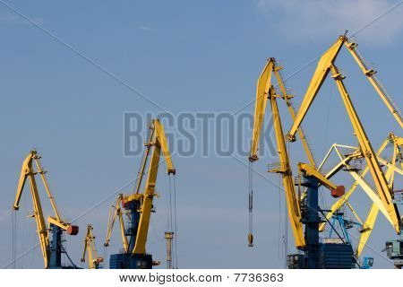 Four Big Industrial Cranes At Commercial Dock