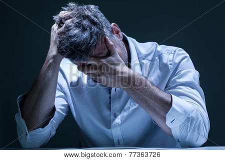 Portrait Of Depressed Man In Pain