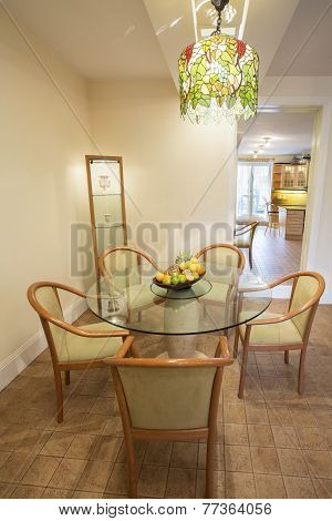 Curcular Table In Dining Room