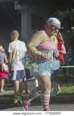 Color Runner In A Tutu