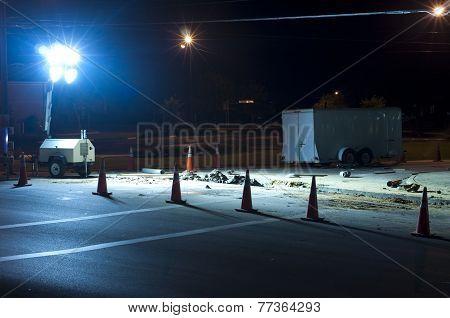 Night Roadwork - Blocked off with Traffic Cones