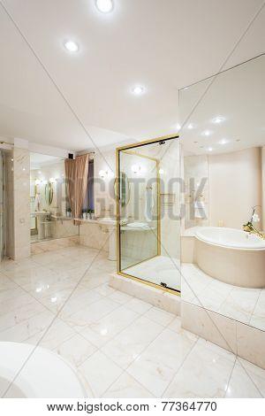 Bright Illuminated Washroom Interior