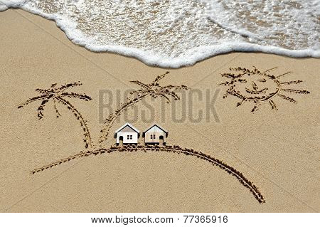 House Near Sea, Beach, Sun And Palm Trees