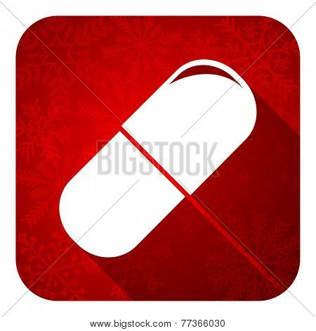 drugs flat icon, christmas button, medical sign