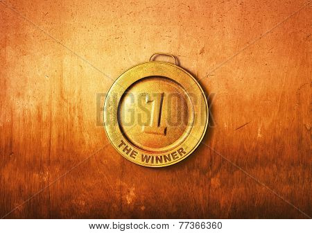Winner medal on a wooden background