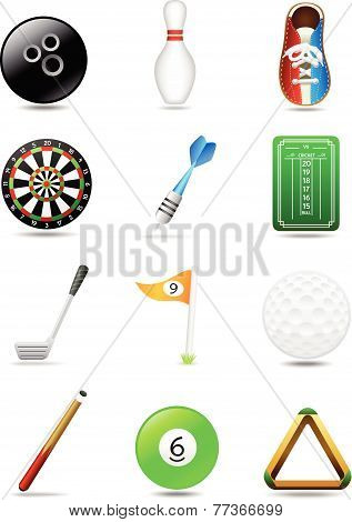 Bowling Darts Golf Billiards | Leisure Sport Icon Set