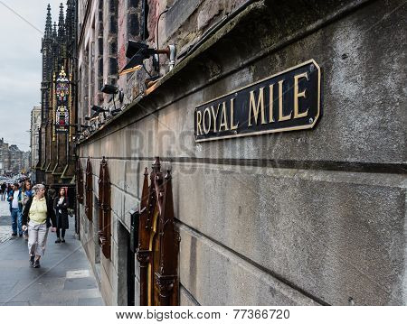 A Royal Mile Street Sign In Edinburgh, Scotland