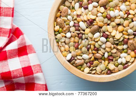 top view of mixture of legumes in bowl