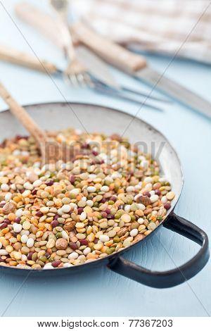 mixture of legumes in pan