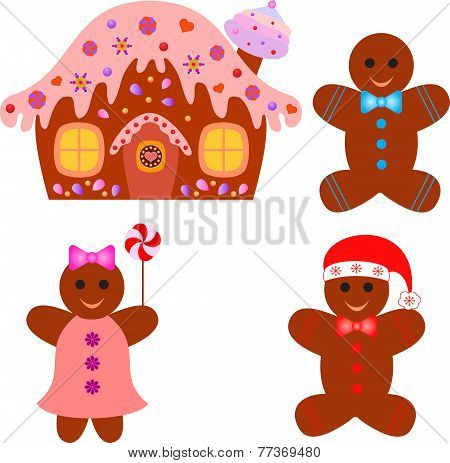 Isolated Gingerbread House, Gingerbread Man, Gingerbread Woman Vectors