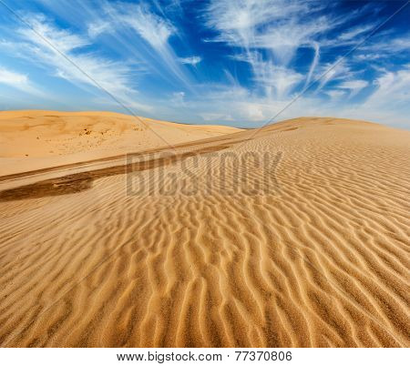 Desert sand dunes on sunrise, Mui Ne, Vietnam