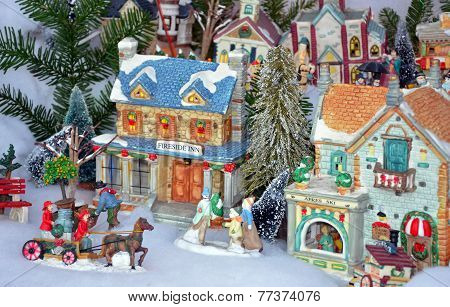 Colorful Christmas Village Display
