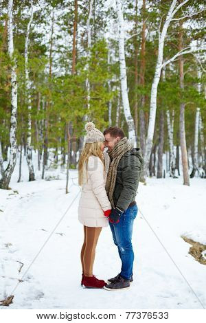 Young amorous couple in winterwear having date outside
