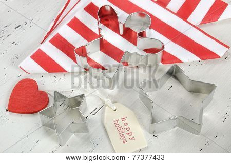 Festive Christmas Holiday Background With Red And White Theme Cookie Cutters And Stripe Napkins On V