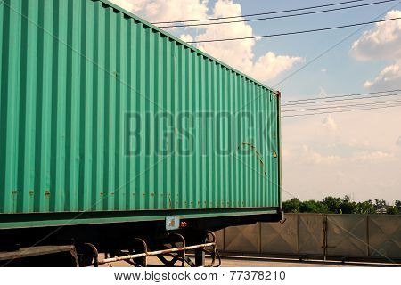 Green Container Ready For Ship