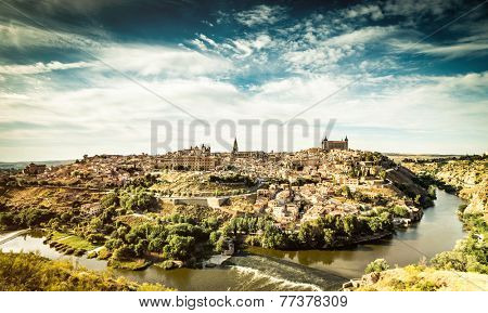 Panoramic view of the historic city of Toledo with river Tajo