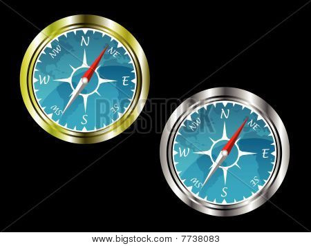 Two compasses in gold and silver