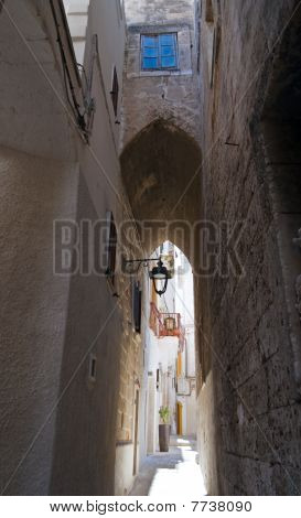 Alley in Monopoli Oldtown. Apulia.