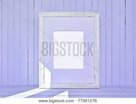 White Canvas On Wooden Plank Violet Background