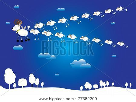 over the snow-covered ground flying flock of funny sheep led by leader - goat