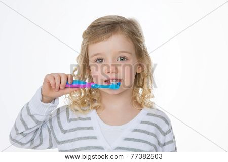 Closeup Of Blonde Girl On White Background