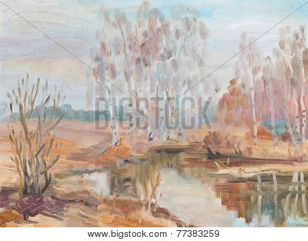 Birches Near River