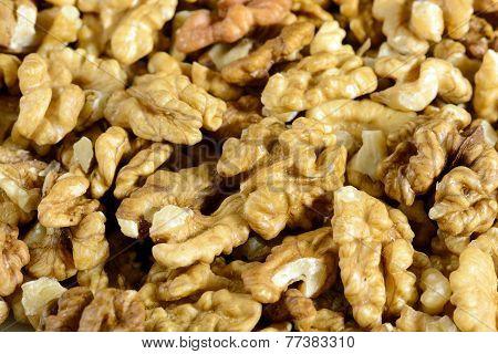 close up of shelled walnuts