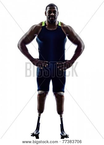 one muscular handicapped man runners sprinters standing with legs prosthesis in silhouette on white background