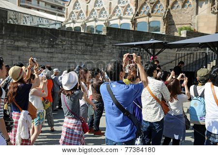 Tourists at Sagrada Familia