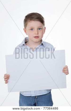 Clever Boy Holding Blank Panel