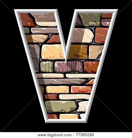 stone letter V
