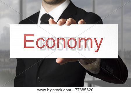 Businessman Showing Sign Economy